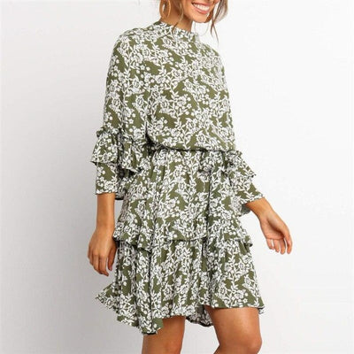 Robe fleurie courte manches longues