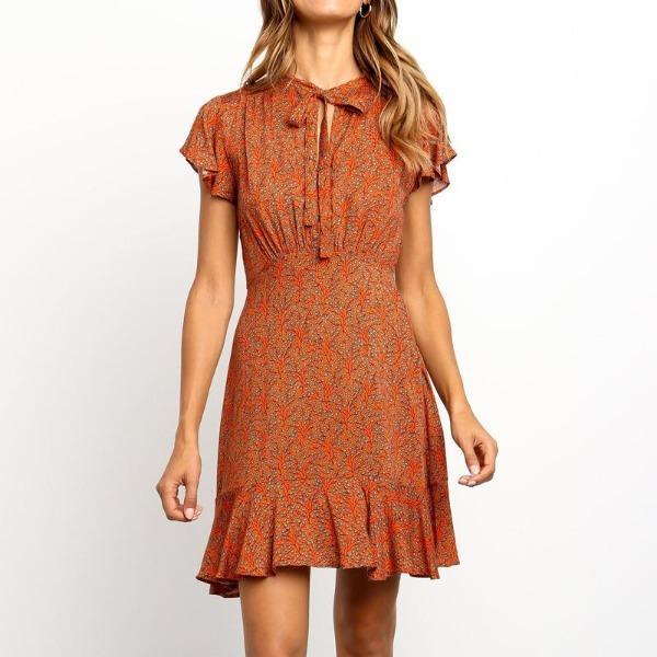 Robe orange fleurie