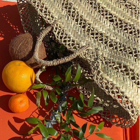 Straw Beach Basket Multi-Lace