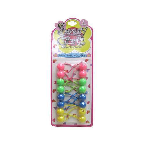 Pony tail holders with ball ends ( Case of 108 )