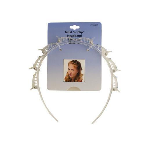 Twist 'n' Clip Clear Jeweled Headband ( Case of 96 )