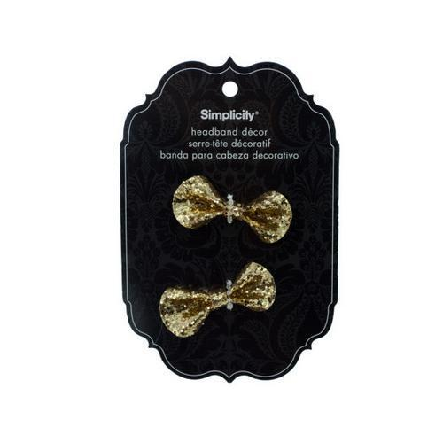 simplicity 2 piece gold sequin bow headband decor ( Case of 48 )