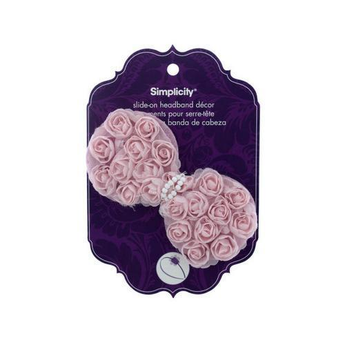 simplicity pink ruffle flower slide on headband accent ( Case of 24 )