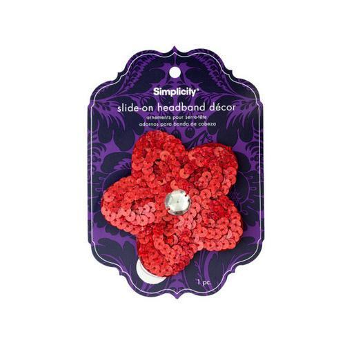 simplicty red sequin flower with gem slide on headband accnt ( Case of 24 )
