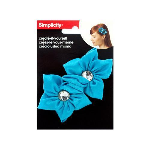 simplicity 2 pack turquoise satin flower/gem headband accent ( Case of 72 )