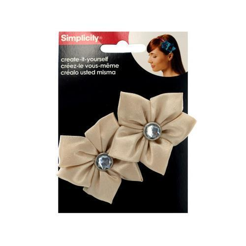 simplicity 2 pack champagne satin flower/gem headband accent ( Case of 48 )