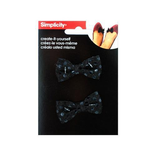 simplicity 2 pack small black sequin bows accents ( Case of 24 )