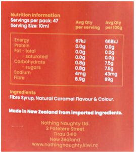 Nothing Naughty Fibre Syrup-Sauce-SwetoBox, FIbre Syrup NZ nutritional value, Caramel Fibre Syrup nz