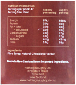 Nothing Naughty Fibre Syrup-Sauce-SwetoBox, Chocolate Fibre Syrup NZ nutritional info