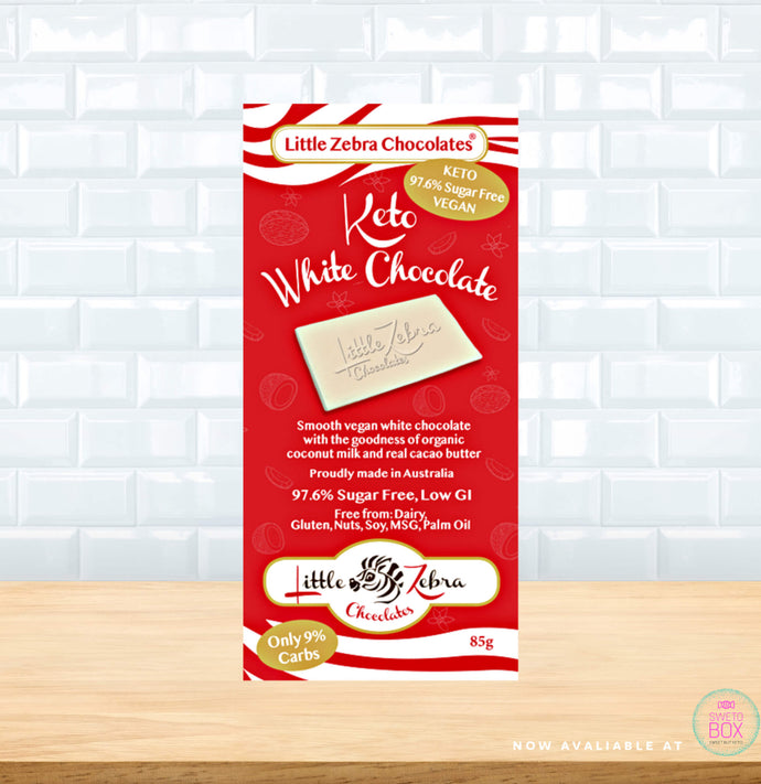 Little Zebra Chocolate NZ, keto white chocolate NZ, vegan white chocolate nz, keto products nz, low carb nz
