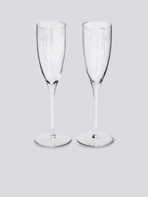 Blue Bar Champagne Flutes - Set of Two