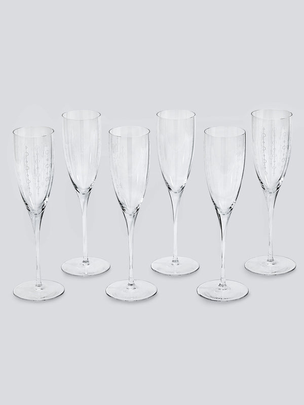Blue Bar Champagne Flutes - Set of Six