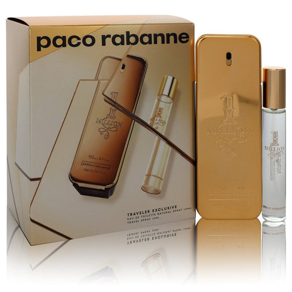 1 Million By Paco Rabbane 2 Pc Set for Men Eau De Toilette Spray 3.4, Spray 0.68 Oz