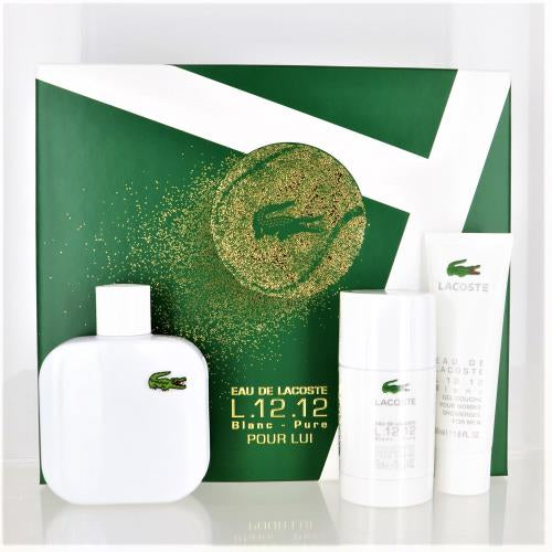 Lacoste Eau De Lacoste L.12.12 Blanc By Lacoste 3 Piece Gift Set - 3.3 Oz Eau De Toilette Spray, 1.6 Oz Shower Gel, 2.4 Oz Deodorant Stick For Men - Gift Set