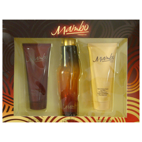 Mambo By Liz Claiborne 3 Piece Gift Set - 3.4 Oz Cologne Spray, 3.4 Oz Body Moisturizer, 3.4 Oz Hair And Body Wash For Men - Gift Set