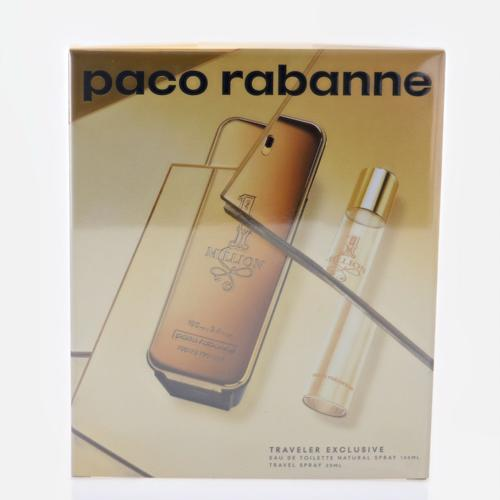 Paco Rabanne 1 Million By Paco Rabanne 2 Piece Gift Set - 3.4 Oz Eau De Toilette Spray, 0.34 Oz Eau De Toilette Spray For Men - Gift Set