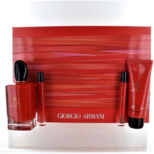 Armani Si Passione By Giorgio Armani 4 Piece Gift Set - 3.4 Oz Eau De Parfum Spray, 2 * 0.34 Oz Eau De Parfum Spray, 2.5 Oz Moisturizing Perfumed Body Lotion For Women - Gift Set
