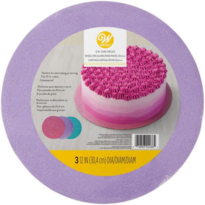 Assorted 12-Inch Glitter Cake Circles, 3-Count