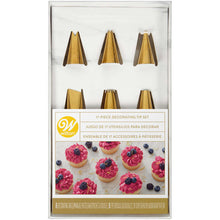 Load image into Gallery viewer, Navy Blue and Gold Piping Tips and Cake Decorating Supplies Set, 17-Piece