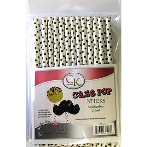 "BLACK SMALL SWISS DOTS 6"" CAKE POP STICK"