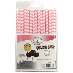 "PINK CHEVRON 6"" CAKE POP STICK"