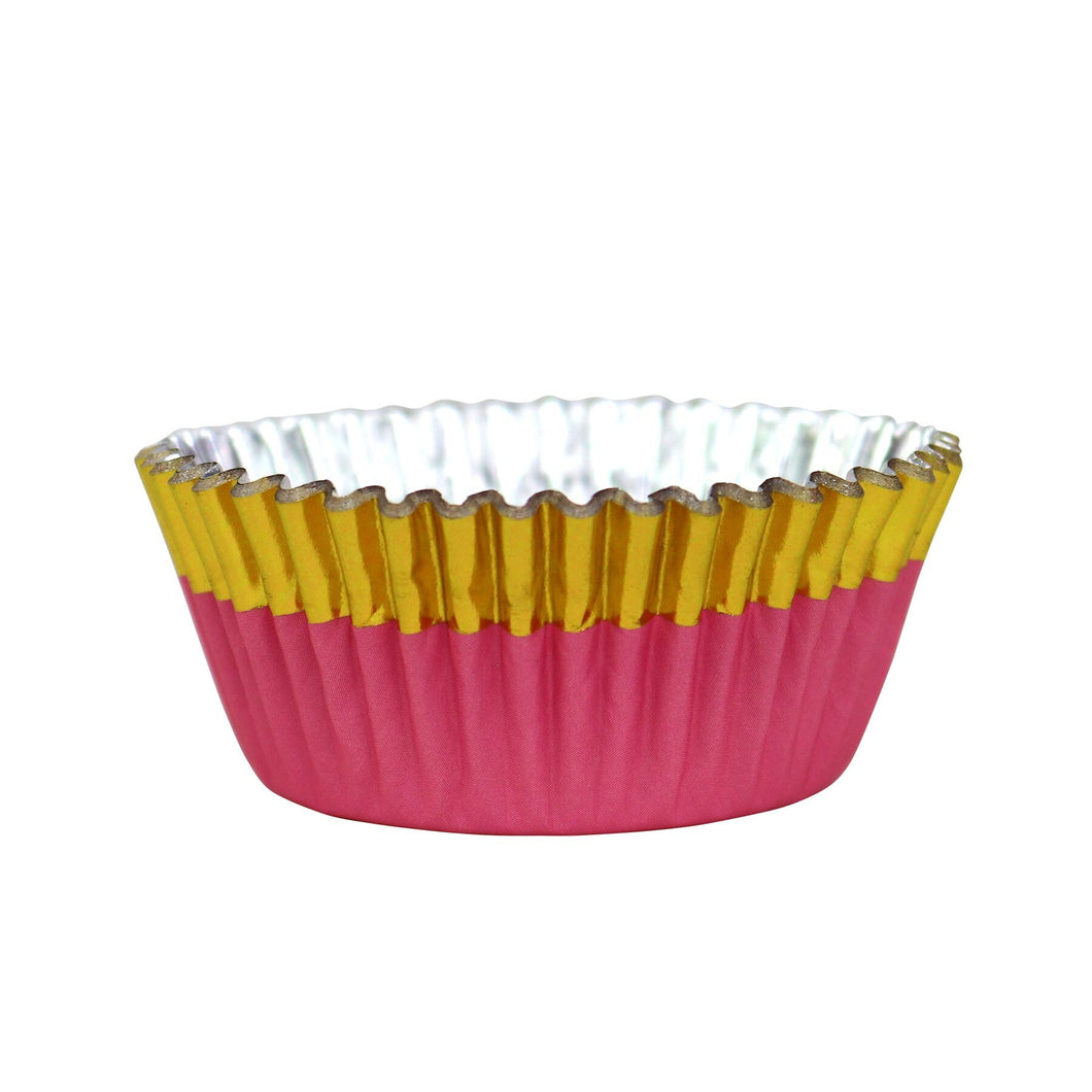 CUPCAKE CASES FOIL LINED - PEACH WITH GOLD FOIL TRIM PK/30