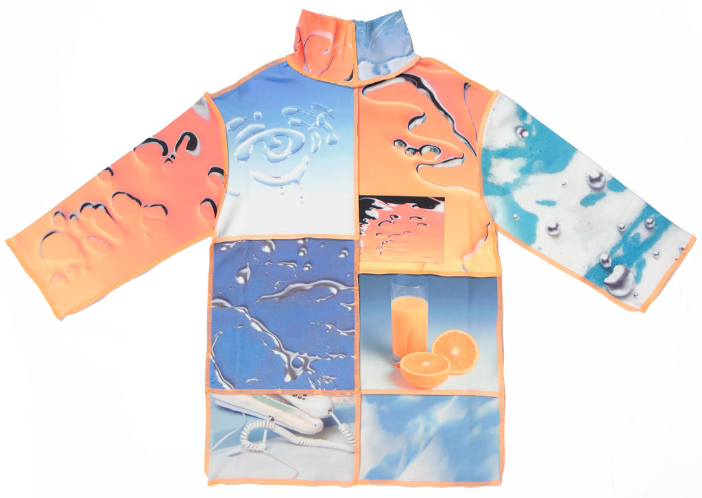 Orange Blue Liquid Sensation Panelled Turtleneck