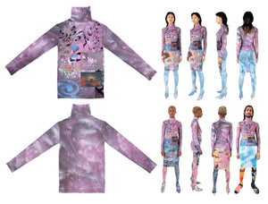 Metallic Pink Swirl Turtleneck