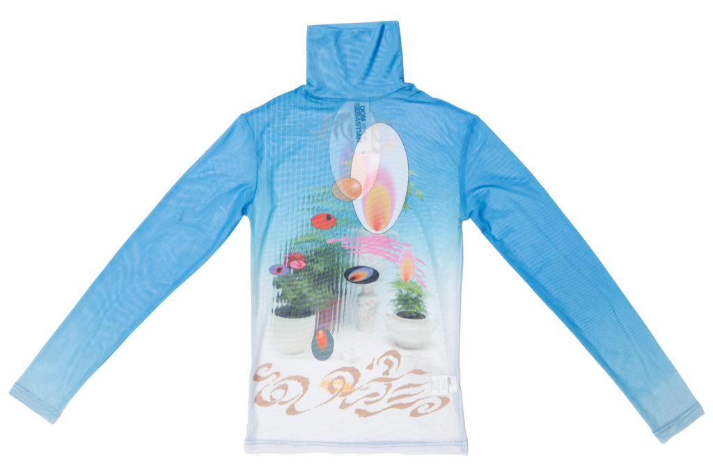 Soft Blue Garden Turtleneck