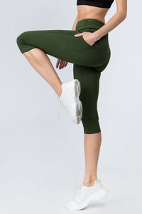 5 pocket high waist cropped  yoga  pants - Green - SportyLeggings.com