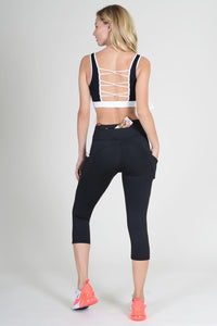 5 pocket high waist cropped  yoga  pants - Black - SportyLeggings.com