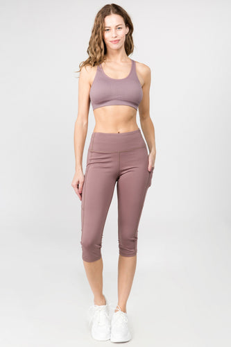 5 pocket high waist cropped  yoga  pants -  Smoky Mauve - SportyLeggings.com