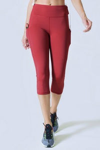 5 pocket high waist cropped  yoga  pants - Brick Red - SportyLeggings.com
