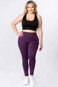 5 Pocket high waist full length yoga pants - Purple - SportyLeggings.com