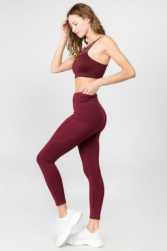 5 Pocket high waist full length yoga pants - Burgandy - SportyLeggings.com