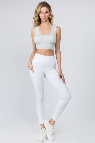5 Pocket high waist full length yoga pants - White - SportyLeggings.com
