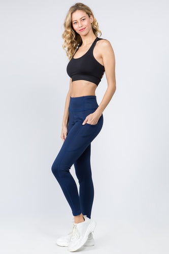 5 Pocket high waist full length yoga pants - Navy Blue - SportyLeggings.com