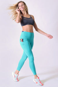5 Pocket high waist full length yoga pants - Teal/Peacock - SportyLeggings.com