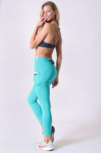 Load image into Gallery viewer, 5 Pocket high waist full length yoga pants - Teal/Peacock - SportyLeggings.com