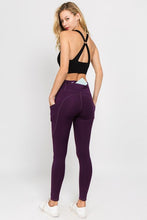 Load image into Gallery viewer, 5 Pocket high waist full length yoga pants - Purple - SportyLeggings.com