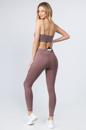 5 Pocket high waist full length yoga pants - Smoky Mauve - SportyLeggings.com