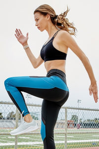 High Rise Colorblock Mesh Tights with Pockets - Black and Blue - SportyLeggings.com