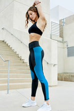 Load image into Gallery viewer, High Rise Colorblock Mesh Tights with Pockets - Black and Blue - SportyLeggings.com