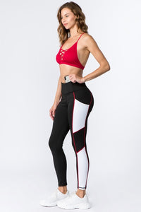 High Rise Side Pocket Colorblock Leggings - SportyLeggings.com