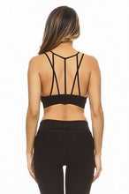 Load image into Gallery viewer, Multi Strap Sports Bra w/Front Mesh - Black - SportyLeggings.com