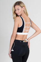 Load image into Gallery viewer, Loop Back Sports Bra - Black - SportyLeggings.com