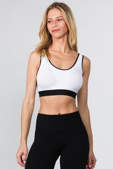 Loop Back Sports Bra - White - SportyLeggings.com