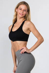 Macrame Cut Out Sports Bra - Black - SportyLeggings.com