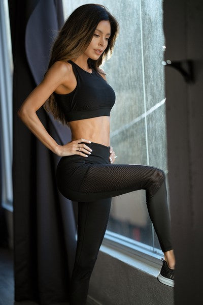 Jersey Mesh Striped 3-Pocket Leggings - SportyLeggings.com