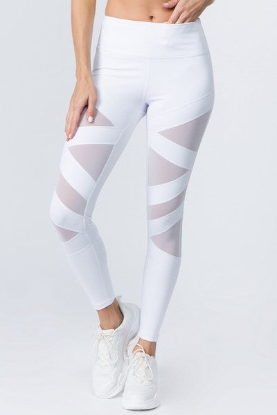 Active Mesh Striped Single Pocket Leggings - SportyLeggings.com